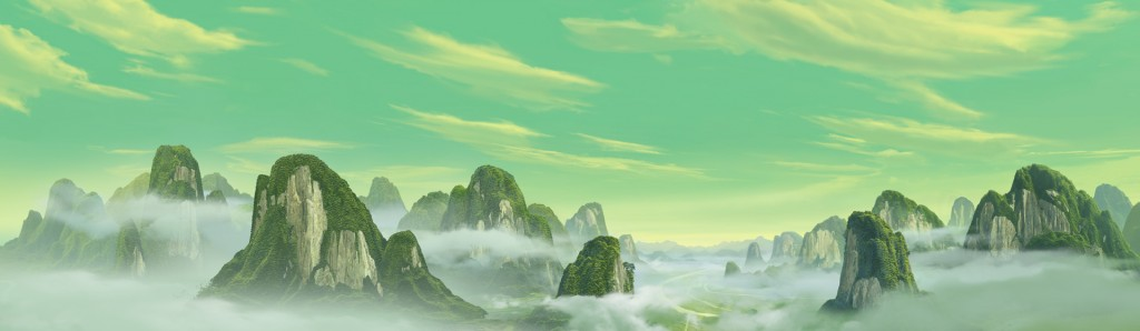 """Kung Fu Panda"" the Green Mountains.photoshop cs5.1, mountains assisted with Vue"