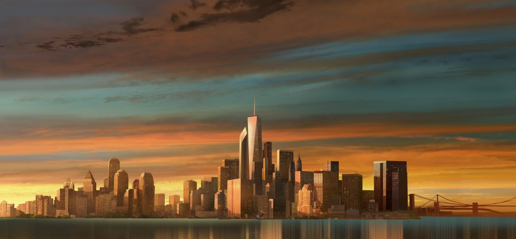 """Madagascar 3, Europes most Wanted"" C.G. Matte painting  - cs 5.1, assisted with geometry for city structures"