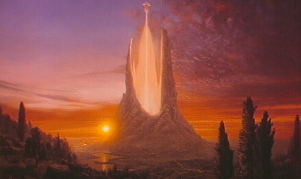 """""""The Never Ending Story"""" Traditional Matte Painting, Acrylic on masonite 4x8 ft."""